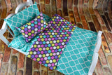American Girl Doll Bedding - 18 Inch Doll Bedding Set - Teal Polka Dots