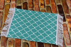 Dollhouse Miniature Rug -Teal Quatrefoil