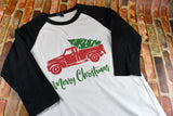 Women's Christmas Raglan Shirt - Merry Christmas Vintage Truck