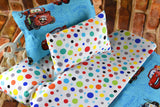 American Girl Doll Bedding - 18 Inch Doll Bedding Set - CARS Polka Dots