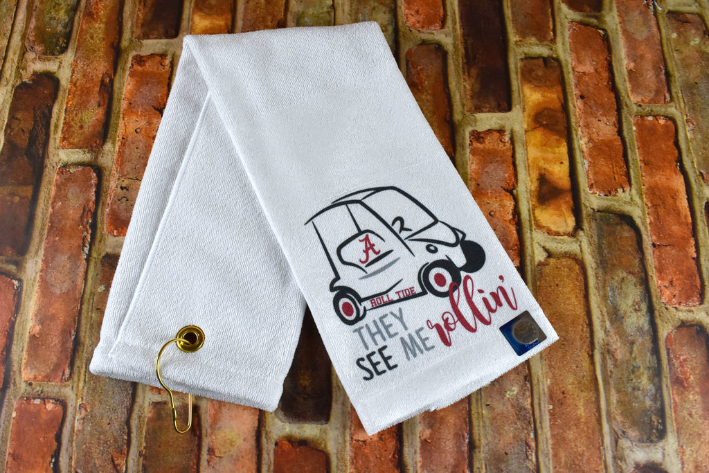 Golf Towel - University of Alabama with Golf Cart