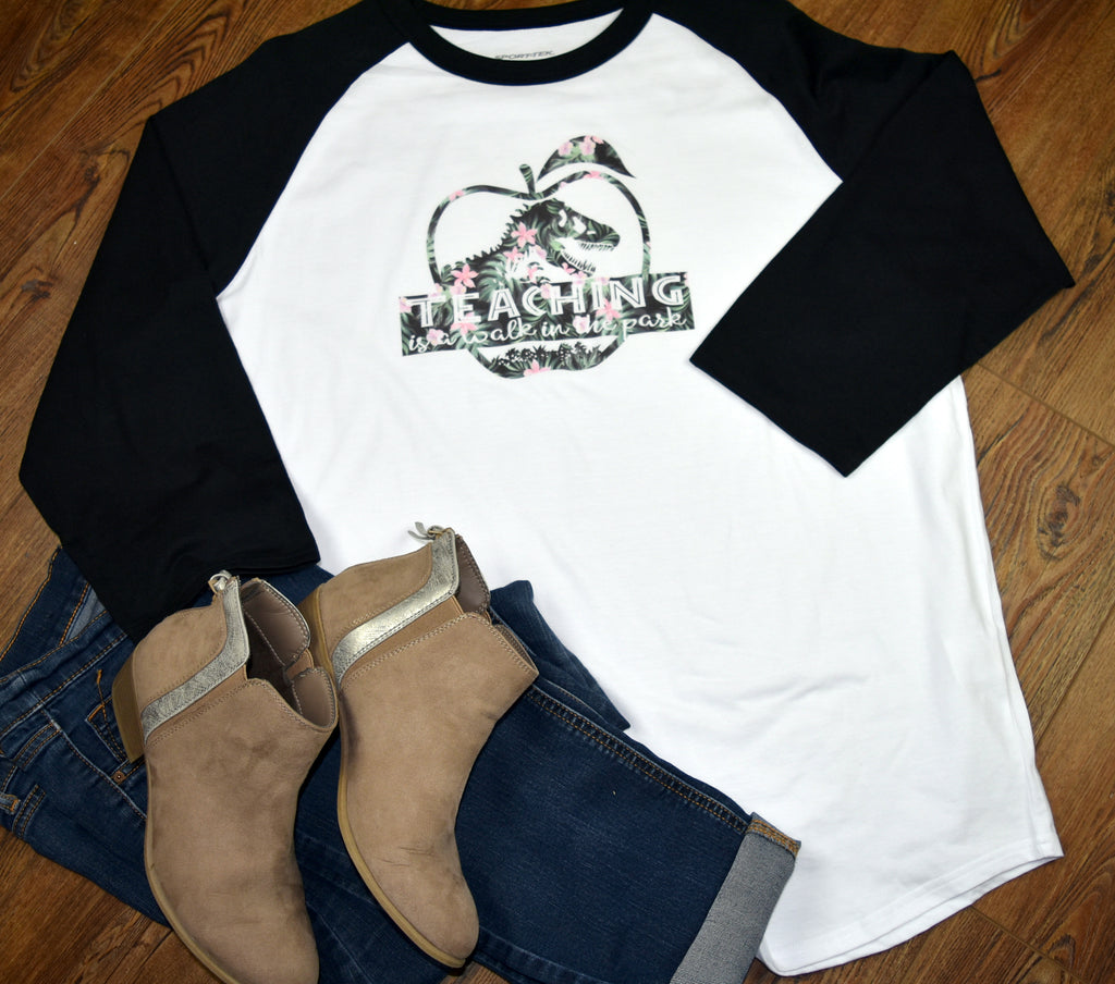 Teacher Women's Raglan Shirt - Teaching is a Walk in the Park
