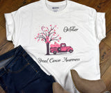 Women's Breast Cancer T-shirt - Pink Vintage Truck