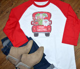 Christmas Women's Raglan Shirt - Christmas Truck
