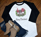 Women's Raglan Christmas Shirt - Merry Christmas Gnomes