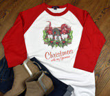 Women's Raglan Christmas Shirt - Christmas with my Gnomies