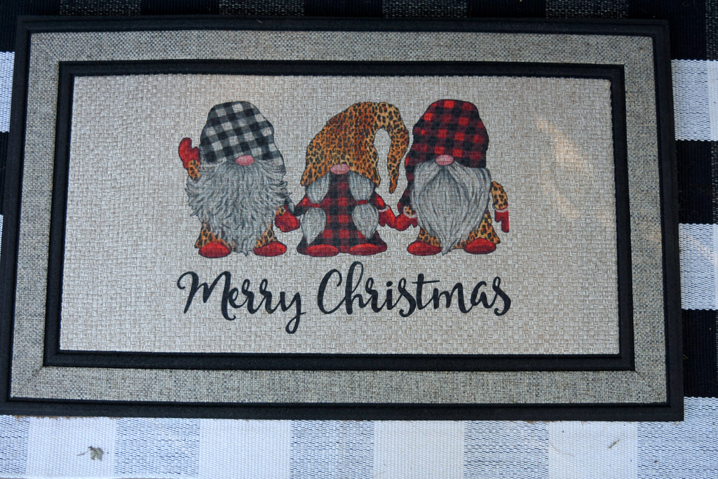 Welcome Mat - Merry Christmas Gnomes