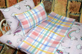 American Girl Doll Bedding - 18 Inch Doll Bedding Set - Unicorn Plaid
