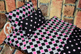 American Girl Doll Bedding - 18 Inch Doll Bedding Set - Black Quatrefoil