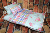 American Girl Doll Bedding - 18 Inch Doll Bedding Set - Teal Floral Plaid