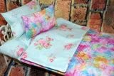 American Girl Doll Bedding - 18 Inch Doll Bedding Set - Teal Floral Polka Dots