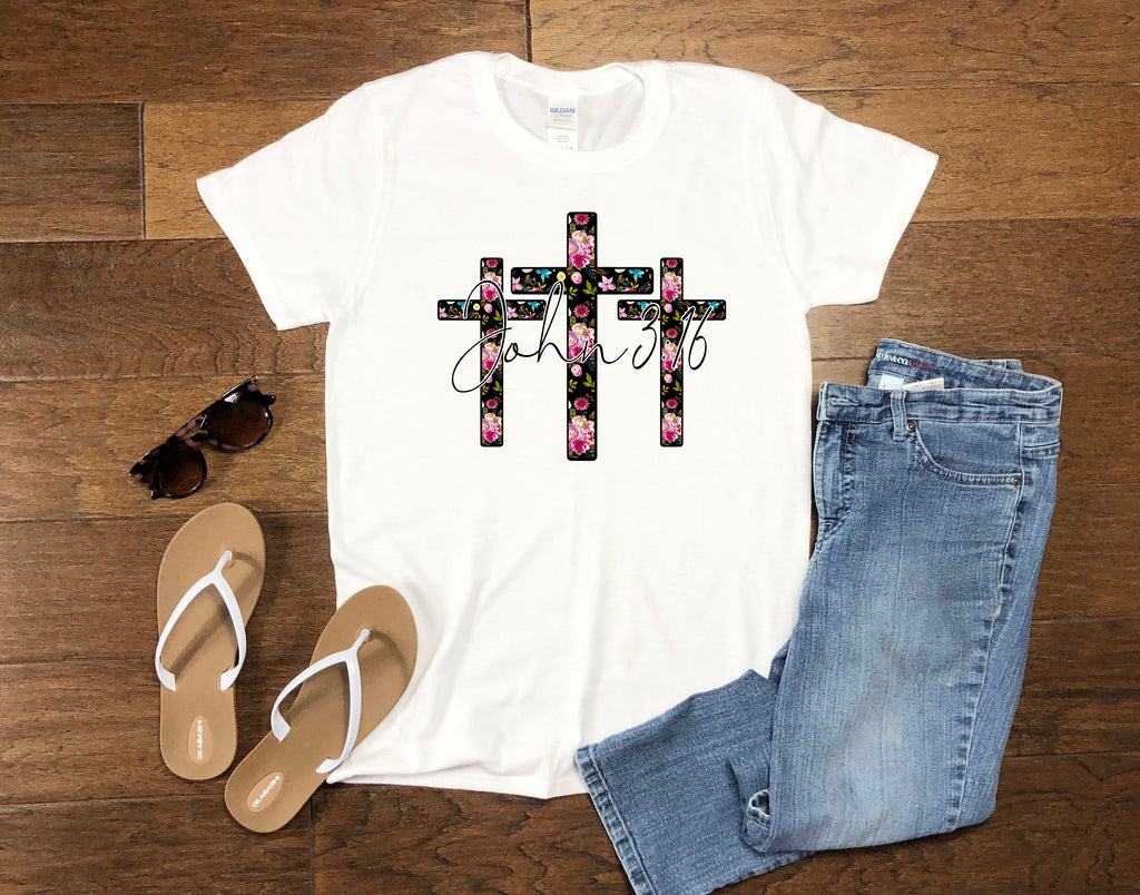 Women's Religious Shirt - John 3:16 Crosses
