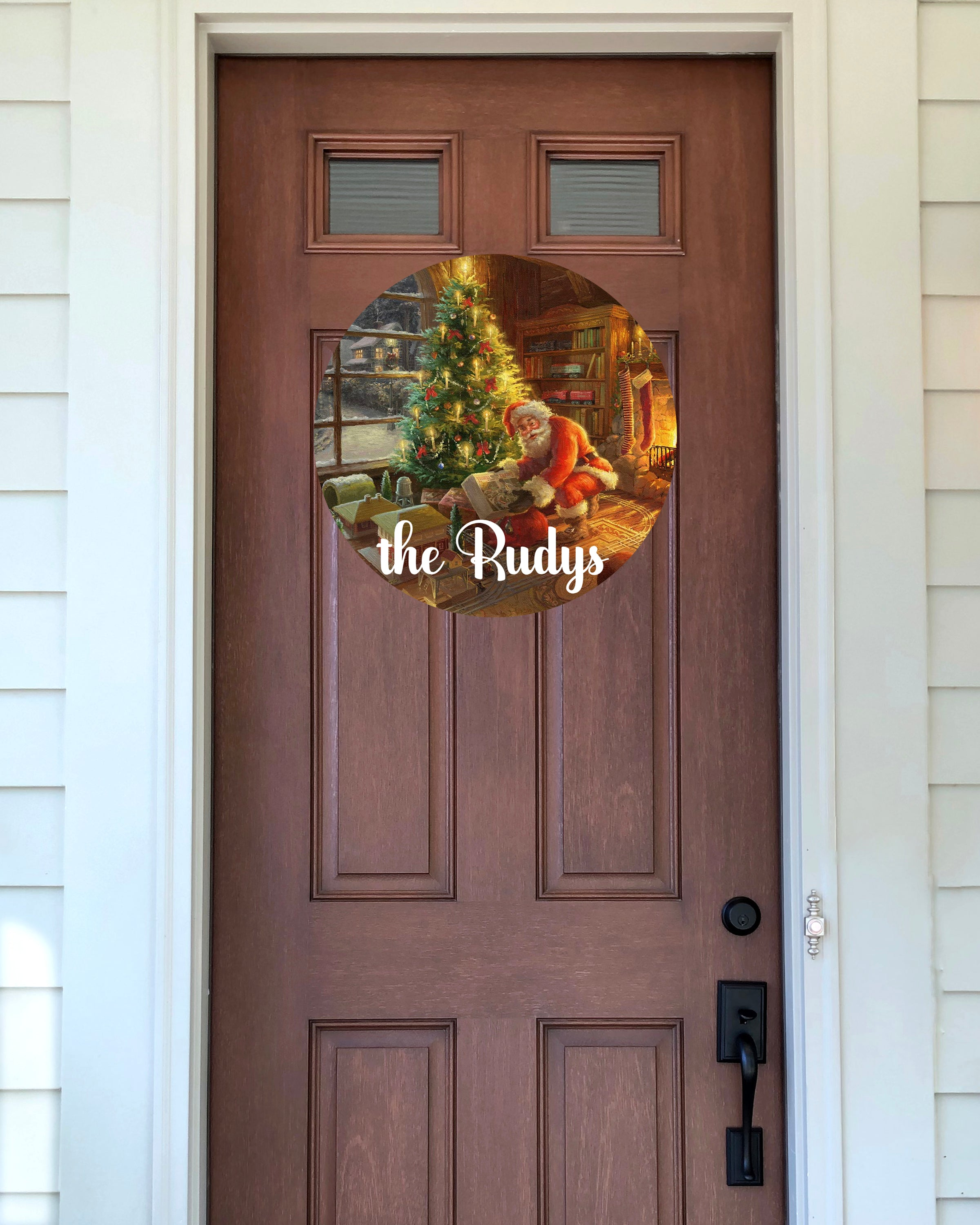 Door Hanger - Personalized Santa Scene