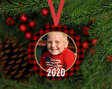 Christmas Ornament - Personalized Red Buffalo Check Round