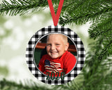 Christmas Ornament - Personalized Buffalo Check Round