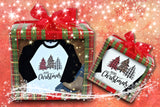 Women's Christmas Raglan Shirt - Plaid Christmas Trees