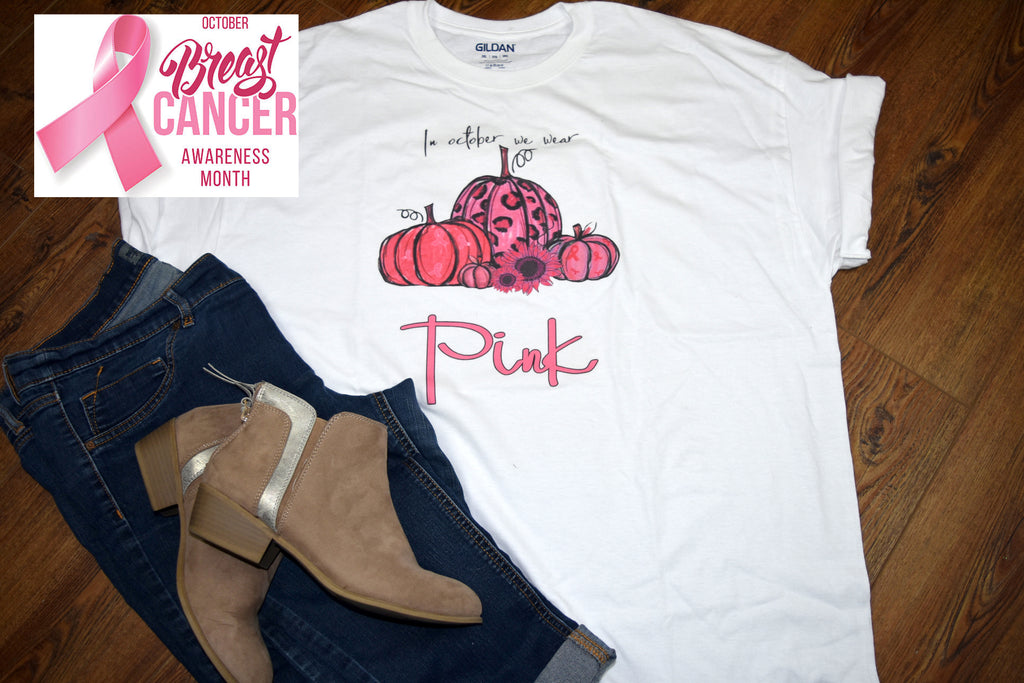 Women's Breast Cancer T-shirt - Pumpkins