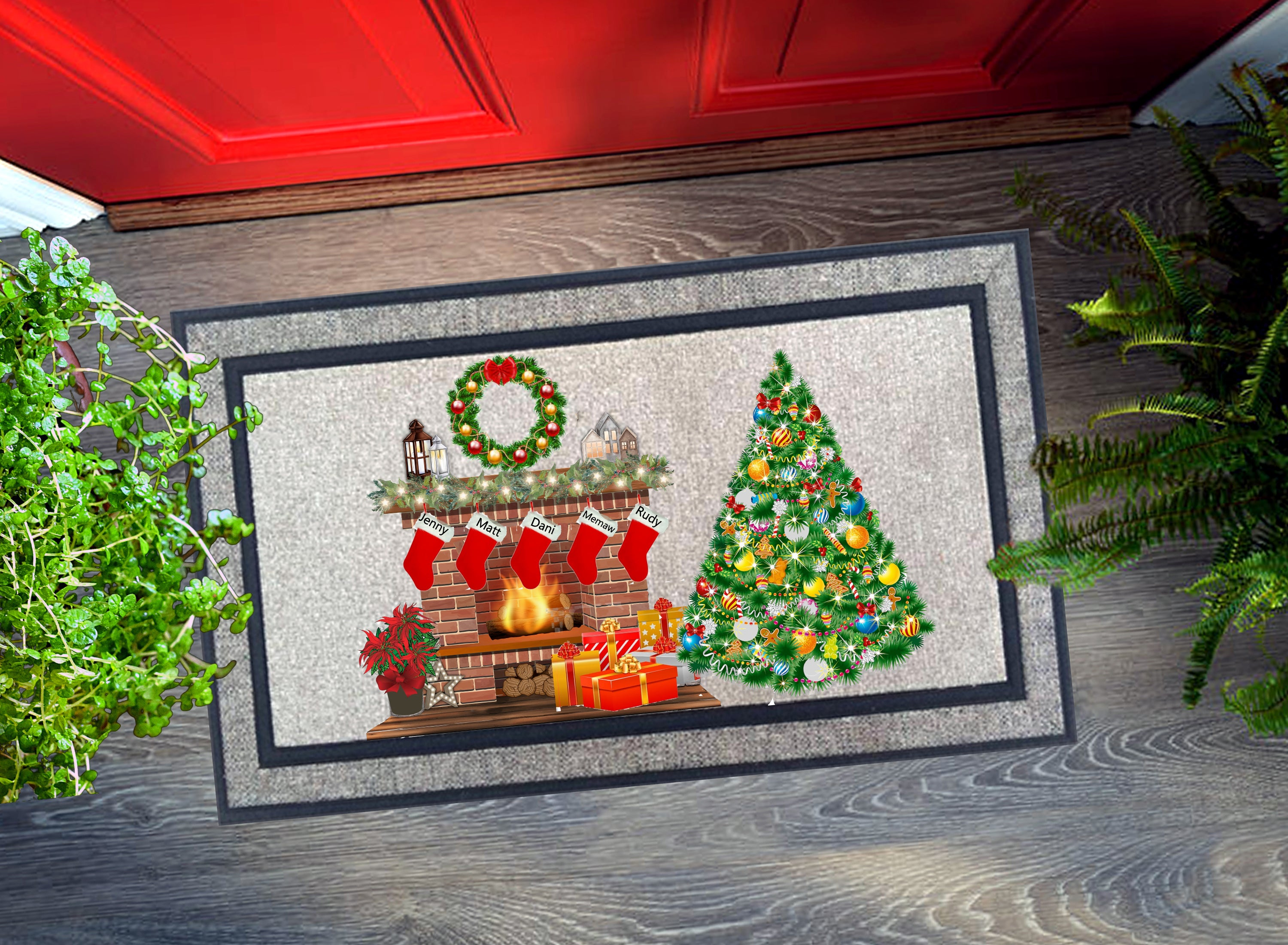 Welcome Mat - Personalized Christmas Scene