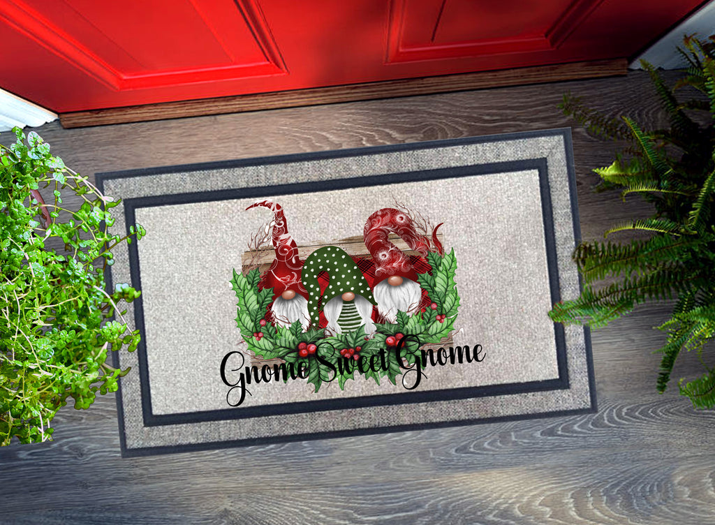 Welcome Mat - Christmas Gnome Sweet Gnome