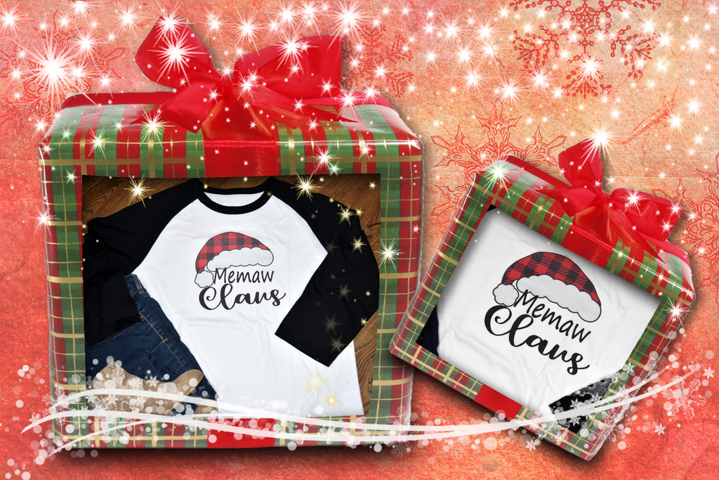 Grandmother Claus Shirt - Christmas Hat Raglan
