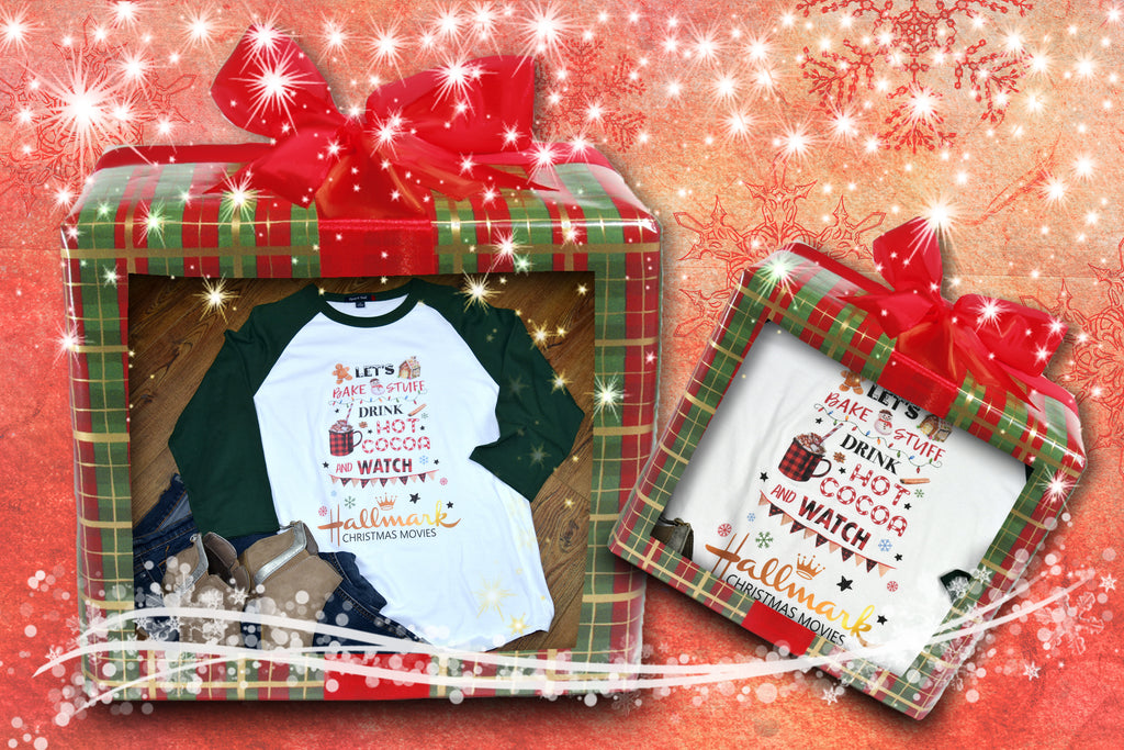 Women's Christmas Raglan Shirt - Bake Stuff, Watch Christmas Movies