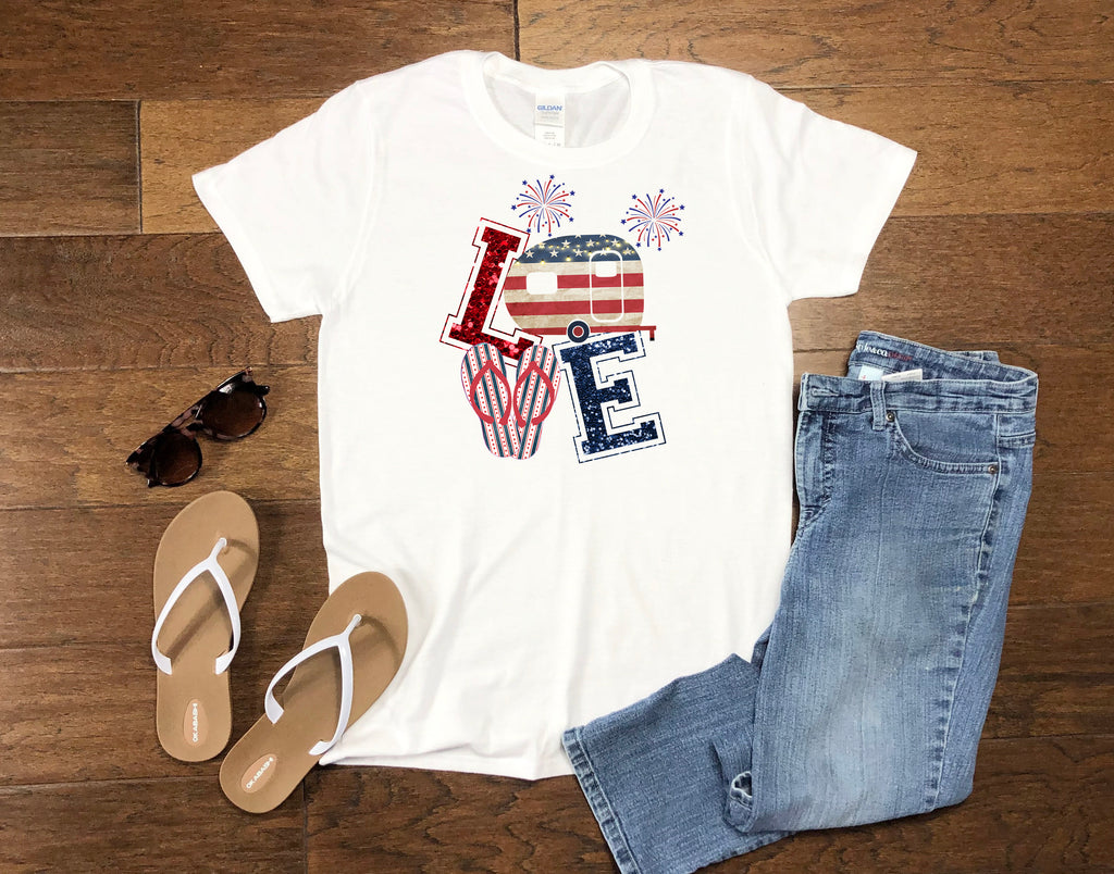 Women's LOVE July 4th - Tank or T-Shirt