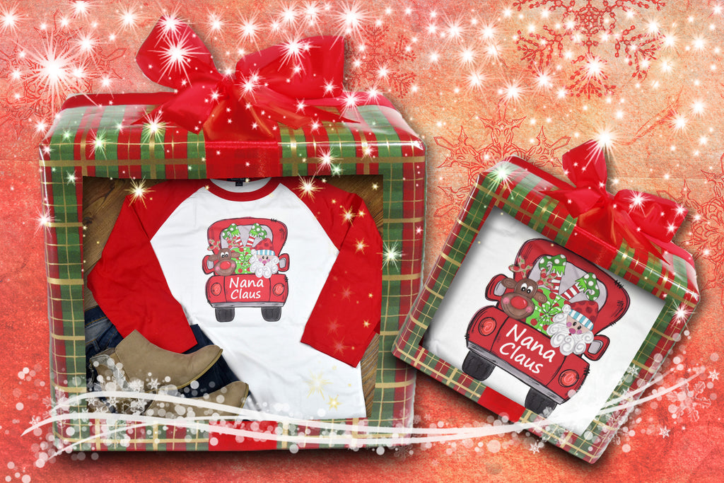 Grandmother Claus Shirt - Raglan Christmas Truck