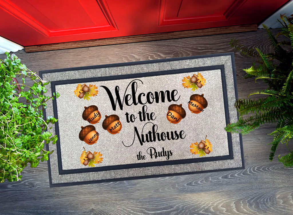 Welcome Mat - Personalized Welcome to the Nuthouse