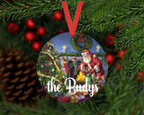 Christmas Ornament - Personalized Family Santa Scene Round