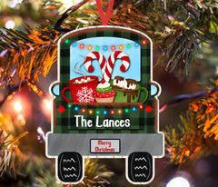 Christmas Ornament - Personalized Christmas Truck Hot Cocoa