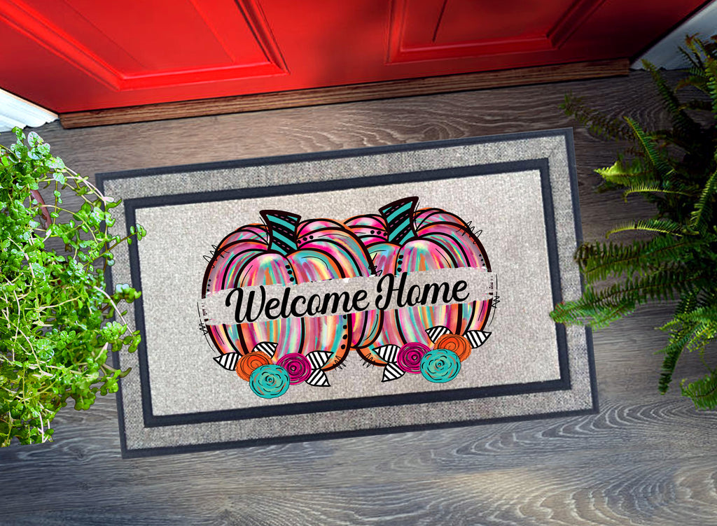 Welcome Mat - Watercolor Pumpkins