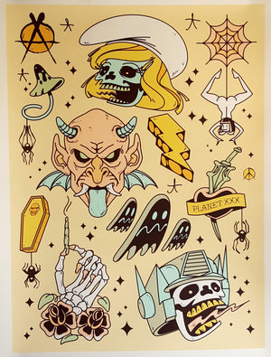 Tattoo Flash Sheet - Collaboration Matt Siren & Chris RWK