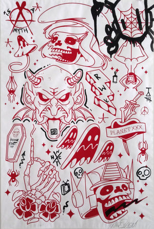 Random Tattoo Flash Sheet - Collaboration Matt Siren & Chris RWK