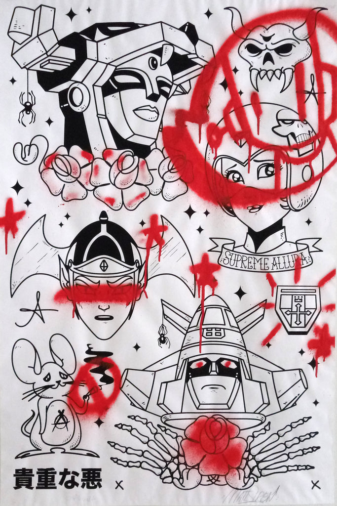 Voltron Tattoo Flash Sheet - Collaboration Matt Siren & Chris RWK