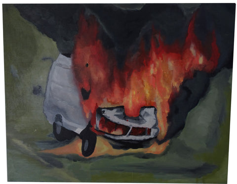 Oil Painting, Incident 1, Van Fire - Patrick Hirose at Forage Space in Narrowsburg, NY