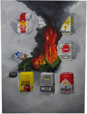 Oil Painting, Incident 2, Green Car Fire - Patrick Hirose at Forage Space in Narrowsburg, NY