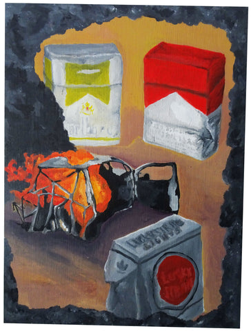 Oil Painting, Incident 3, Car Fire - Patrick Hirose at Forage Space in Narrowsburg, NY