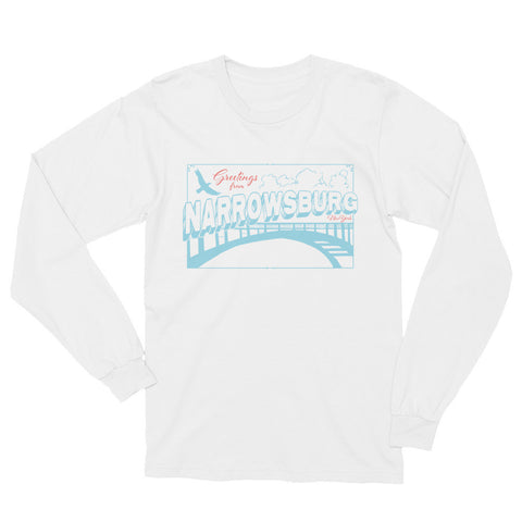 Made in USA - Narrowsburg, NY T-Shirt, We're all Tourists