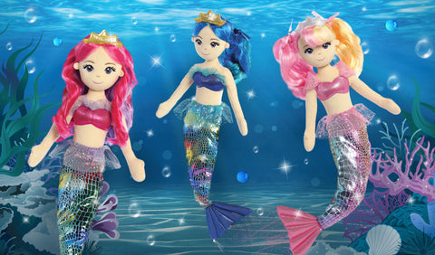 Mermaid Plush Dolls - Aurora World Colorful Rainbow Sea Sparkles