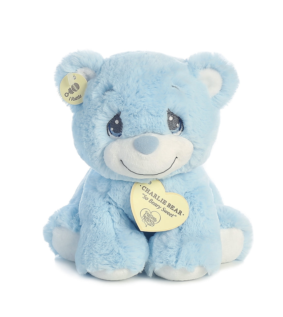 "Aurora Precious Moments - 8.5"" Charlie Bear Blue with Rattle"