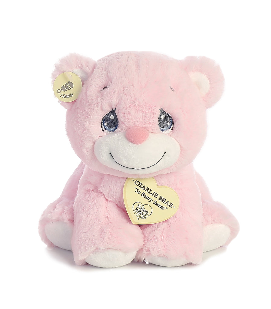 "Aurora Precious Moments - 8.5"" Charlie Bear Pink with Rattle"