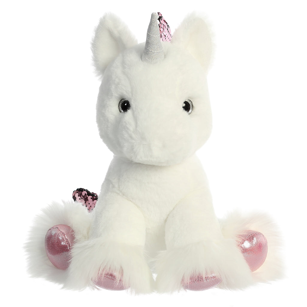 "Aurora Shimmery Clouds Unicorn - 9"" White"