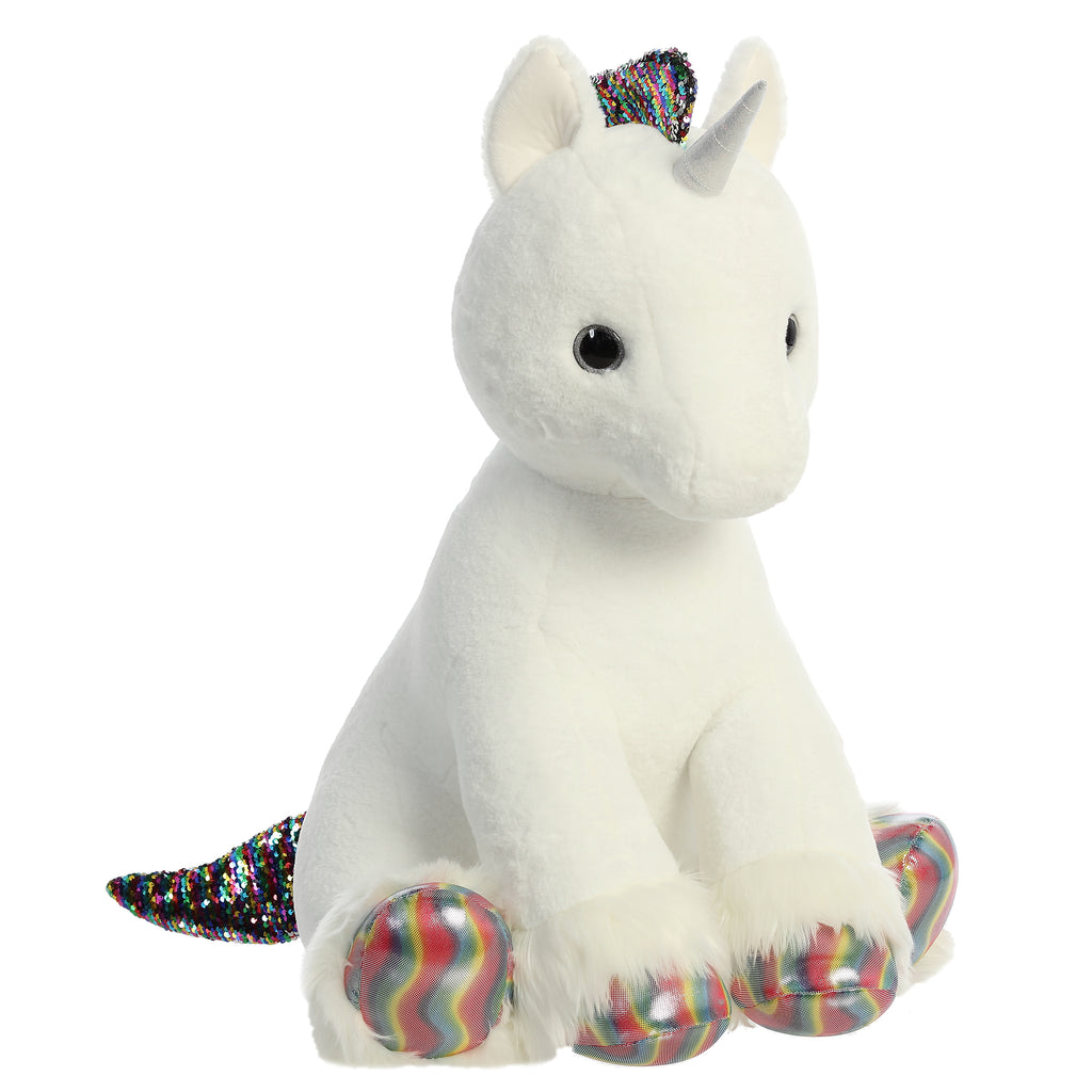 "Aurora Shimmery Clouds Unicorn - 33"" White"