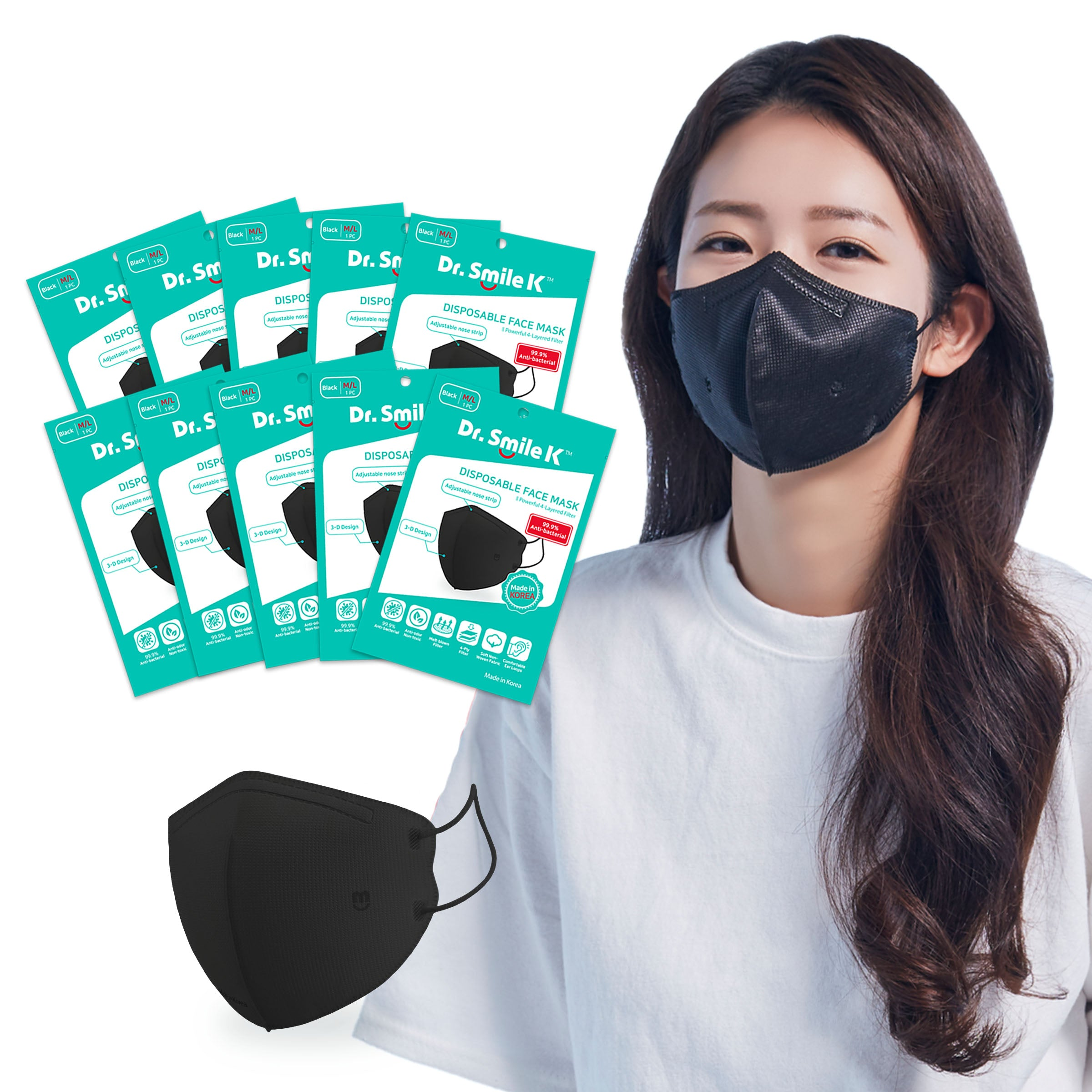 Aurora - Dr. Smile K - 10 or 20 Pack Black Disposable Face Masks - Sizes: S/M or M/L