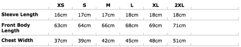 women's t shirt size chart metric