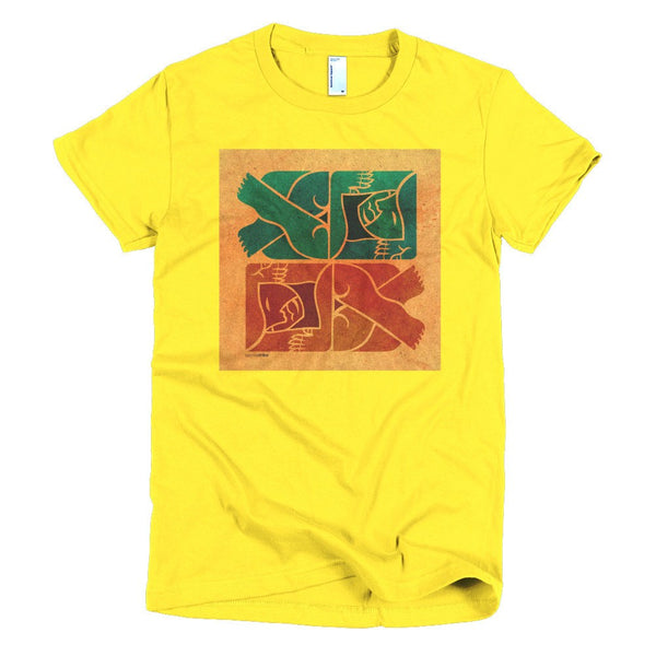 Symmetry on Sand women's t-shirt yellow