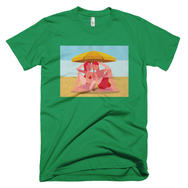 Beach Umbrella Couple men's t-shirt green