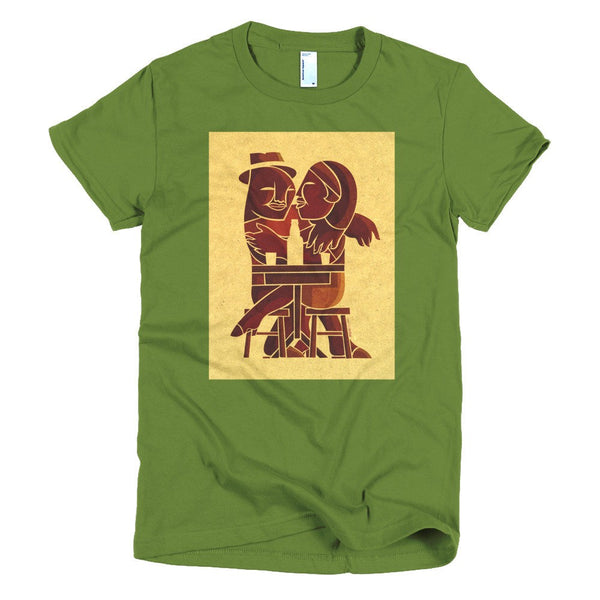 Couple at Bar women's t-shirt green
