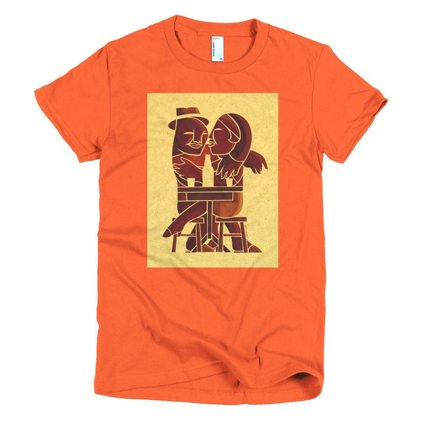 Couple at Bar women's t-shirt pumpkin