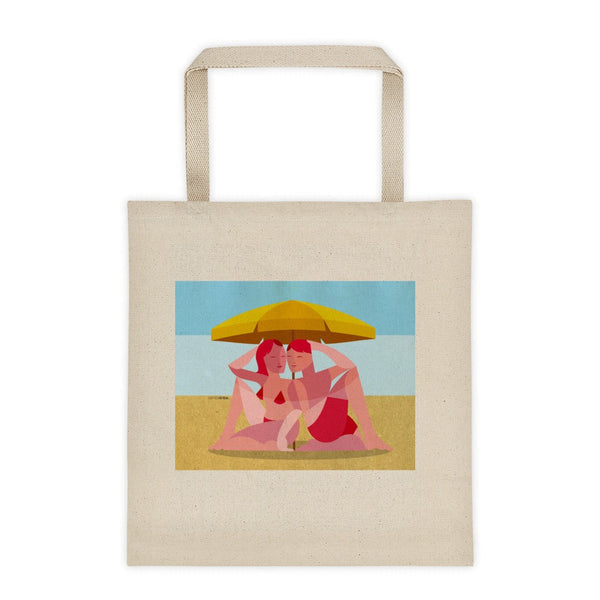 Beach Umbrella Couple tote bag